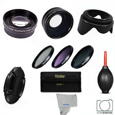 3 LENS +FILTER KIT + BONUS Canon Eos Rebel XS XT T3 T3i T4I T5 T6 FITS 18-55 HD