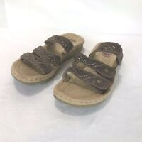 Earth Spirit Gelron Womens Size 6 Sandals Brown Leather Slip On Strappy Clogs