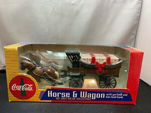 Ertl Coca Cola Coke Horse & Wagon Christmas With Garland 1/64 Diecast Coin Bank