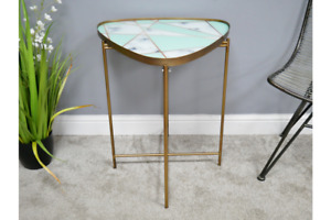 Contemporary Sleek Glass Top Retro Coffee Side Table   Triangular   Folds Flat