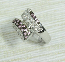 New 14K Solid White Gold Natural Diamonds & Pink Sapphire Two Tone Ring