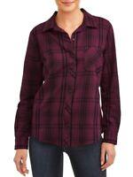 TIME AND TRU Purple Brushed Plaid Lurex Shirt Top Roll Cuff Tab Sleeve L 12 14