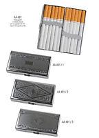 Portasigarette cigarette case metallo lavorato 12 sigarette lunghe 100's AA491