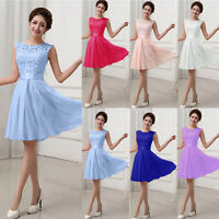 Womens Lace Short Chiffon Dress Prom Evening Party Cocktail Bridesmaid Wedding