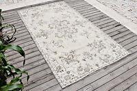 Turkish Rug 45''x83'' Vintage Light Color Wool Primitive Area Carpet 116x212cm