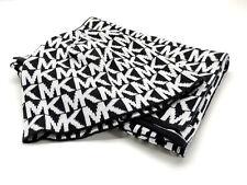 Michael Kors Black White MK Repeat Logo Beanie & Knit Scarf Hat Set New In Box!