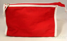 NEW Estee Lauder Red & White Cosmetic Travel Makeup Bag Pouch Zippered Pouch