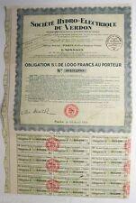 obligation : Sté  Hydro-Electrique du Verdon  ( 226 )
