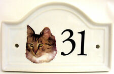 Norwegian Forest Cat House Door Number Plaque Ceramic Cat Sign Any Number