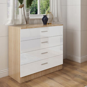 Chest Of 4 Drawers Bedroom Furniture Home High Gloss Hallway Storage Cabinet