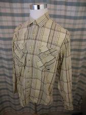 DC Dee Cee Brand Pearl Snap Western Shirt Brown Yellow Plaid Cotton Sz Lg  B716b