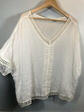 Cato XL Blouse White Crochet Short Sleeve Summery lightweight festival