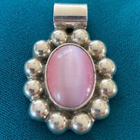 Vintage Sterling Silver 925 Mexico Taxco Pink Cats Eye Pendant