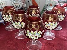 Bohemian Czech Gold gilded floral Cranberry Red set of 6 sherry glasses