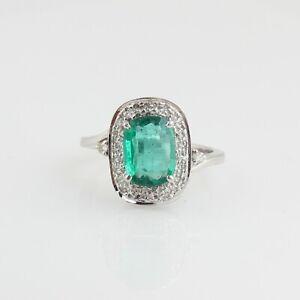 Genuine 2.66 TCW Emerald Gemstone Ring 18k White Gold SI/HI Diamond Fine Jewelry