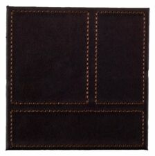 Inspire HY633137 Luxury Faux Leather Patchwork Coasters, Brown, Set of 4