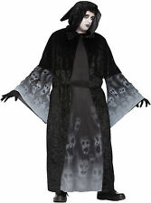 Mens Forgotton Souls Costume Black Hooded Robe Halloween Adult Plus Size