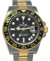 Rolex GMT-Master II 18k YG & Steel Black Ceramic Mens 40mm Watch Scramble 116713