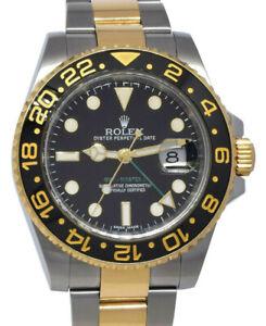 Rolex GMT-Master II 18k YG & Steel Black Ceramic Mens 40mm Watch B/P M 116713