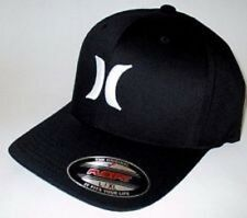 HURLEY SOLID BLACK HAT FLEX FIT FITTED CAP SIZE L/XL MENS