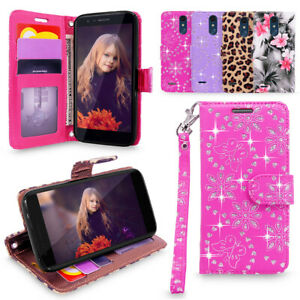 For LG Aristo 2/Tribute Dynasty/K8 2018 Leather Wallet Card Slot Flip Stand Case