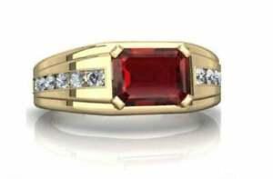 2CT Emerald Cut Red Garnet Diamond Men's Engagement Ring 14K Yellow Gold Finish