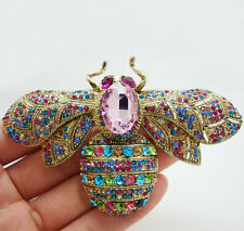 """Brooch Pin Multi-color Crystal Rhinestone 2.36"""" Fashion Style Bee Insect"""
