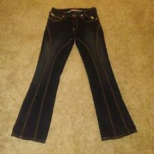 Baby Phat Womens Size 9 Denim Juniors Pants With Gold Embroidery Pockets
