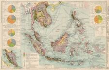 Indochina & East Indies. Commercial Mining Minerals Agricultural 1925 old map