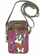 Purple Crossbody Chala Cell Phone Purse Wallet Wristlet Handbag-Boston Terrier