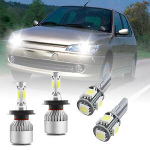 For PEUGEOT Car Headlight LED Bulbs Kit set 2x H4 PURE WHITE+501 6000k