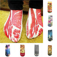 2019 Fashion 1Pair 3D Bacon Meat Printed Unisex Low Cut Ankle Socks Autumn Socks