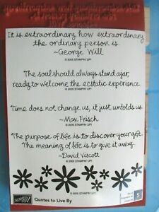 Stampin' Up QUOTES TO LIVE BY Rubber Stamp Set 2005 SENTIMENTS Flowers WORDS