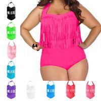 Women Swimsuit Bikinis Set Fringe Tassel High Waist Monokini Swimwear Plus Size