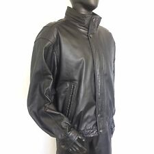 Members Only Black Genuine Leather Bomber Jacket Size Large Motorcycle Coat L