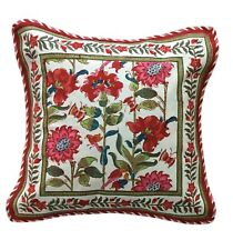 """Anokhi Red & White Floral Pillow Cover, 18""""x18"""", 100% Cotton"""