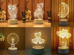 Brand New Led Lamp Night Light Table Desk Kids Gift - 6 Designs Available