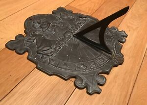 """Antique 1705 Wall Mounted Large Heavy Brass Wall Sundial 10"""" X 12 1/2"""""""