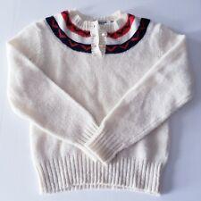 Vintage Shetlander Crazy Horse Fair Isle 100% Wool Sweater Cream Red Blue Small