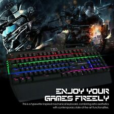 KrBn Wired Gaming Real Mechanical Keyboard USB Multi-Color LED MX Blue Switches