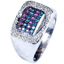 1.30ct RAW WHITE NATURAL DIAMOND & MULTI COLOR .925 SILVER MEN'S RING SIZE 9