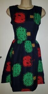 New Womens Blue Green Red Vintage Style Chic Midi Skater Dress: UK 12 (40)