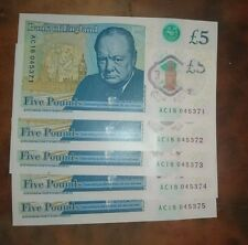 Five brand new Bank of England £5 notes