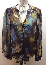 Cynthia Rowley Chiffon Floral Women Blouse Long Sleeve Large Brown Soft