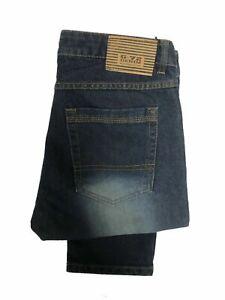 Kids Boys Jeans Trousers Denim Straight Leg Slim Fit Five Pocket Dark Blue Pants