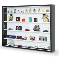 Interlink Cabinet Black Glass Front Shelves for Collectors Display Wall Mount