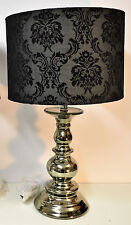 BLACK NICKEL FINISH TABLE LAMP BLACK FLOCK SHADE