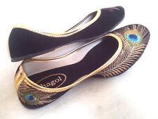 US 8 women handmade shoes sandal velvet peacock bollywood shoes traditional boho