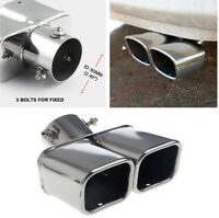 "Universal 2.4"" Stainless Steel Twin Double Dual Chorme Straight Pipe Exhaust Tip"