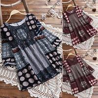 Womens Boho Floral Tunic Tops Long Sleeve Casual Shirt Blouse Loose T-Shirt Tee